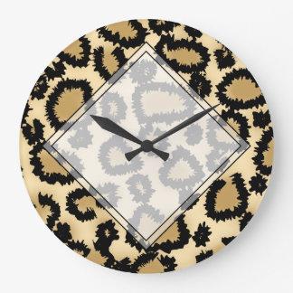 Leopard Print Pattern, Brown and Black. Large Clock