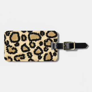 Leopard Print Pattern, Brown and Black. Luggage Tag