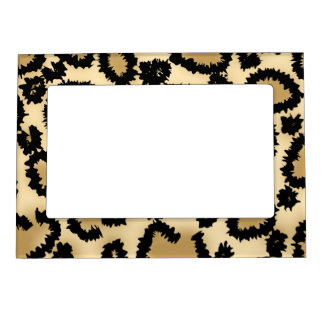 Leopard Print Pattern, Brown and Black. Magnetic Picture Frame