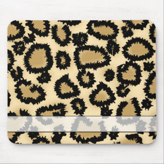 Leopard Print Pattern, Brown and Black. Mouse Mat