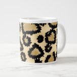 Leopard Print Pattern, Brown and Black. 20 Oz Large Ceramic Coffee Mug