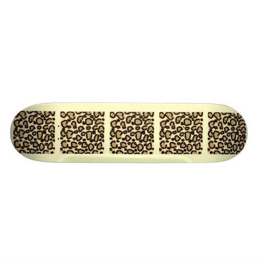 Leopard Print Pattern, Brown and Black. Skate Board Deck