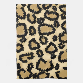 Leopard Print Pattern, Brown and Black. Tea Towel