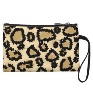 Leopard Print Pattern, Brown and Black. Wristlet Purse
