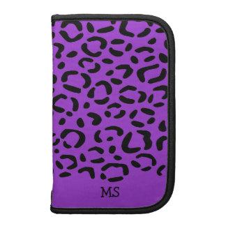 Leopard Print Pattern Custom Initials Purple Organizer