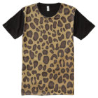 Leopard print pattern panel T-shirt