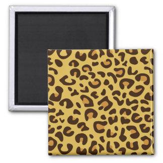 Leopard print pattern square magnet