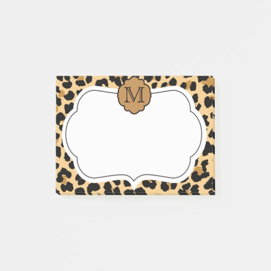 Leopard Print Personalised Monogram Post-It Notes