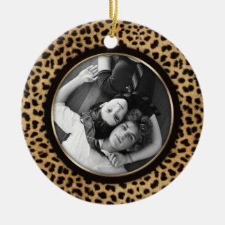Leopard Print Photo Ornament Wedding Keepsake