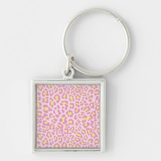Leopard Print Pink and Yellow Keychain