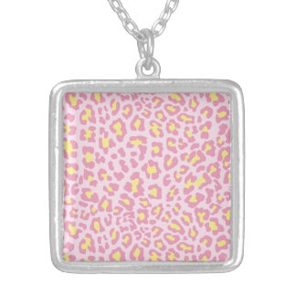 Leopard Print Pink and Yellow Necklace