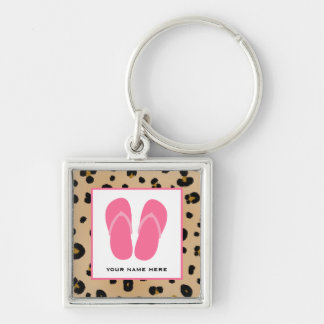 Leopard Print & Pink Flip Flops Personalized Key Ring