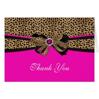Leopard Print Pink Gem Rhinestone Thank You Card