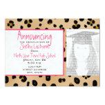 Leopard Print & Pink Graduation Photo Announcement