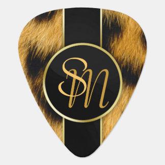 Leopard Print Precious Gold Initials - Guitar Pick
