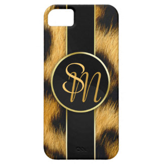 Leopard Print Precious Gold Initials - iPhone Case