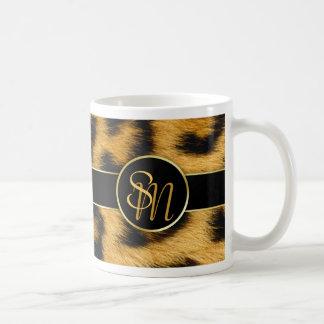 Leopard Print Precious Gold Initials - Mug