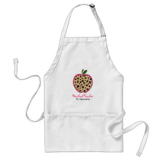 Leopard Print Preschool Teacher Apple Apron
