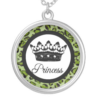 Leopard Print, Princess and Crown Necklace