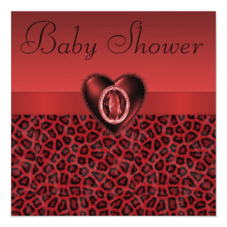 Leopard Print & Printed Bling Heart Baby Shower Card