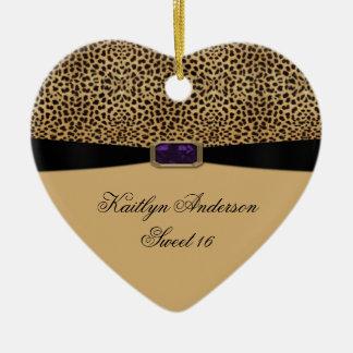 Leopard Print Purple Amethyst Jewel Sweet 16 Keeps Ceramic Heart Decoration