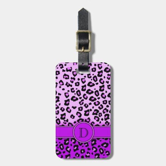 Leopard print purple black monogram luggage tag