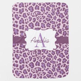 Leopard Print Purple Lavender Swaddle Blanket