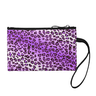 Leopard Print Purple & White Coin Purse