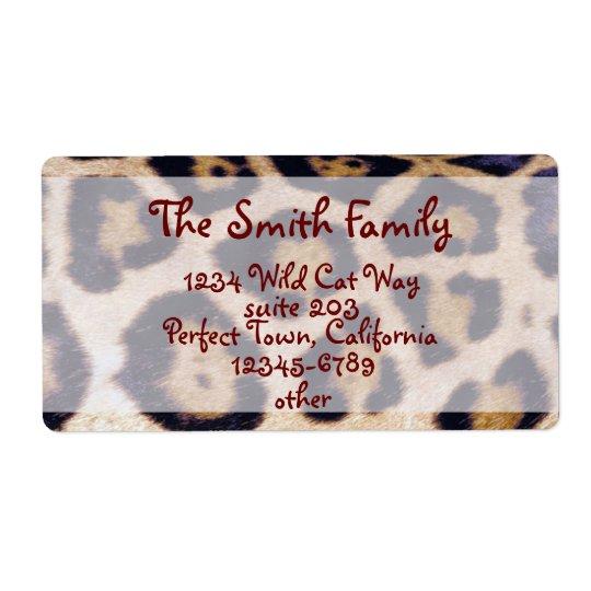 Leopard Print Real Fur Cat Pattern Label
