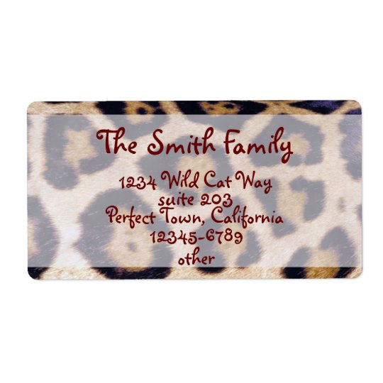 Leopard Print Real Fur Cat Pattern Label Shipping Label