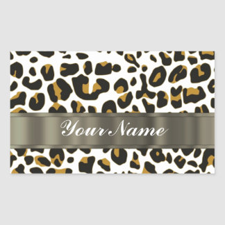 leopard print rectangular sticker