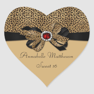 Leopard Print Red Jewel Diamonds Sweet 16 Heart St Heart Sticker