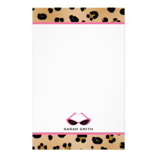 Leopard Print & Retro Pink Sunglasses Stationery