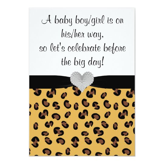 Leopard Print Rhinestone Baby Shower Invitation