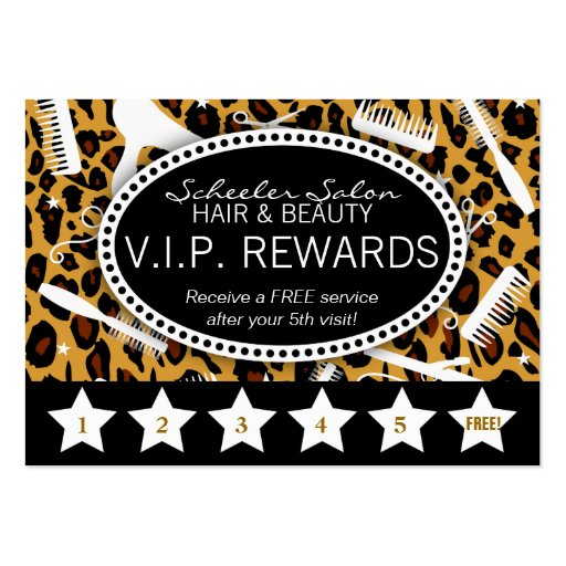Leopard Print Salon Loyalty Business Card Templates