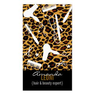 Leopard Print Salon Tools Vertical Pack Of Standard Business Cards