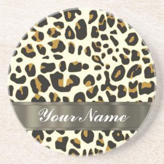 leopard print sandstone coaster