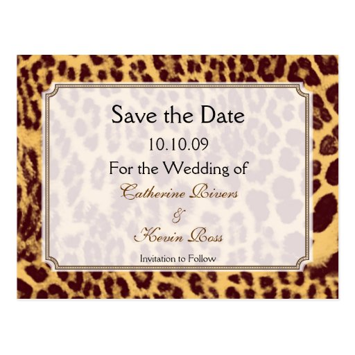 Leopard print save the date postcard