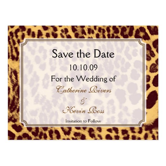 Leopard print save the date postcard