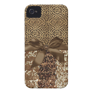 Leopard print,Sequin,Ribbon,Bow Iphone Barely Case