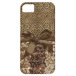 Leopard print,Sequin,Ribbon,Bow Iphone Barely Case iPhone 5 Covers