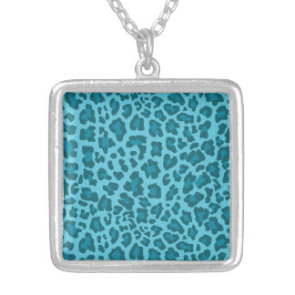 Leopard Print Shades of Blue Custom Necklace