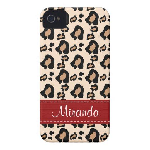 Leopard Print Skin Blackberry Bold Case Red Ribbon