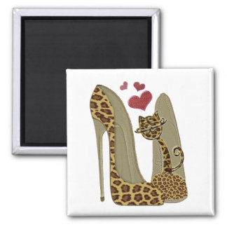 Leopard print stiletto and cat magnet