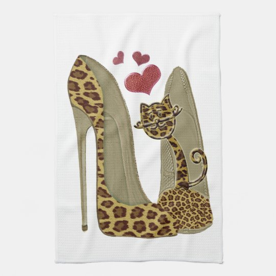 Leopard print Stiletto Shoes and Cute Cat Hearts