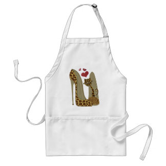 Leopard print Stiletto Shoes and Cute Cat Hearts Standard Apron
