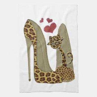 Leopard print Stiletto Shoes and Cute Cat Hearts Tea Towel