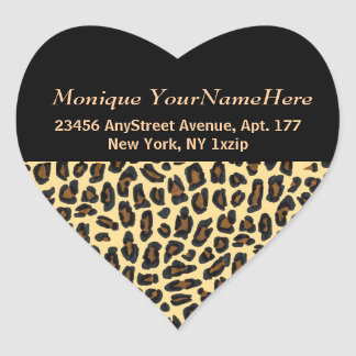 Leopard Print Stylish Return Address Heart Sticker