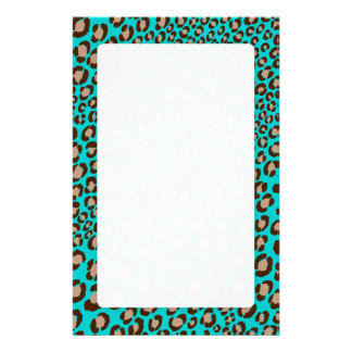 Leopard Print/teal/Add background color!! Stationery