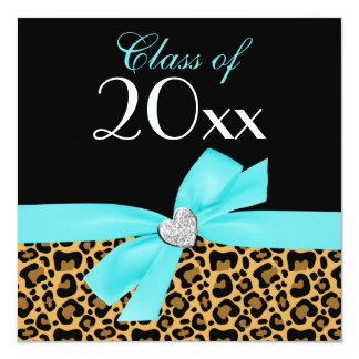 Leopard Print Teal Blue Bow Heart Graduation Party Card